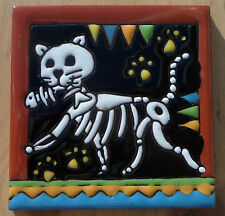 "Talavera Mexican tile 4"" Day of  the Dead high relief Cat Fish Terra Cotta trim"
