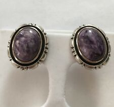LT Solid Sterling Silver Charoite Earrings, 14g, Purple, Thailand 925