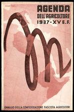 agenda agricoltore CONF.AGRICOLTORI  FASCISTA 1937 illustratore A.CAPITANI