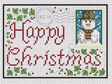 Gráfico de punto de cruz-Tarjeta Felicitación de Navidad Nº 4-Navidad Muñeco de nieve-TSG 37