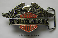 Harley Davidson Bar 'n' Shield / Eagle Solid Brass Chrome Finished Belt Buckle