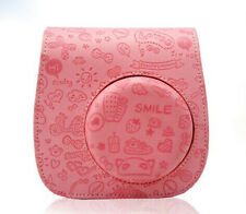 NEW FujiFilm MINI8 Instax Polaroid Camera Protect Leather Case Bag Emboss Pink