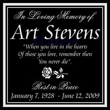 "Personalized Memorial 12"" Custom Engraved Granite Headstone Grave Marker Rose"