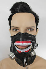 New Men Biohazard Face Mask Mouth Muzzle Costume Black Halloween Zipper S&M