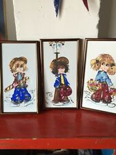Lot Of 3 Original Acrylic On Canvas Art Paintings Cute Decor 1982 Menele Kids
