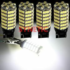 4x 7443 7440 High Power 120-SMD 6000K Xenon White Reverse Backup LED Light Bulbs