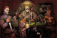 SLASHERS PLAYING POKER - ART POSTER - 24 x 36 HORROR MOVIE BIG CHRIS 160464
