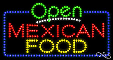 """NEW """"OPEN MEXICAN FOOD"""" 32x17 SOLID/ANIMATED LED SIGN W/CUSTOM OPTIONS 25535"""