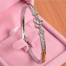 Women Love Heart Alloy Crystal Bangle Silver Plated Bracelet Jewelry Gift Charm