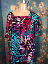 MOONLIGHT BAY PLUS 22W/24W BLUE MULTI-COLOR ANIMAL PRINT SHORT SLEEVE TUNIC TOP