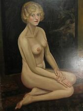 ANTIQUE AMERICAN IMPRESSIONIST PAINTING NUDE LADY ORIENTAL CHINESE BACKGROUND NY
