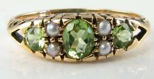 LOVELY  VICTORIAN 9K GOLD  PERIDOT & SEED PEARL RING