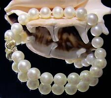 RARE GENUINE WHITE SOUTH SEA SALTWATER PEARL 14K SOLID GOLD BALL CLASP BRACELET