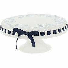 GRACE TEAWARE Blue Ribbon & Rose Chateau Ceramic Wedding Cake Stand Shabby Chic