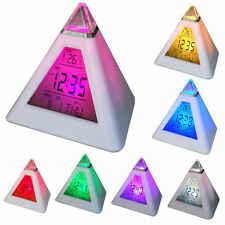 S#SS New 7 LED Color Pyramid Digital LCD Alarm Clock Thermometer