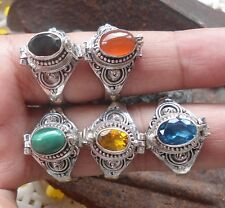 6x 925 Solid Silver Balinese Poison Locket Ring With Mix Stone-H67