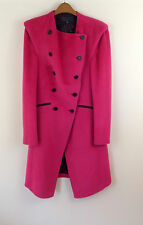 New Pink Bastyan (Karen Millen) Military Wool Tailored Button Coat UK Size 10