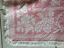 "ANTIQUE WOVEN RED WHITE COTTON TABLECLOTH  RUG "" FLOWERS & STRIPES "" PATENT 608"