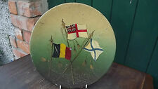 Vintage World War 1 Tin Plate with naval flags of Belgium Russia & Great Britain