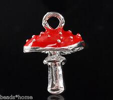 Home 10PCs Silver Plated Enamel Red Mushroom Charm Pendants 15x11mm