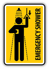 "Emergency Shower Warning Sign Funny Humor Car Bumper Sticker Decal 4"" x 5"""