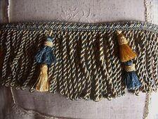 V14 ANCIEN GALON PASSEMENTERIE MARQUIS DOUBLE FRANGES  TORSES BLEU PETROLE OR