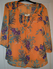M&S ladies/women's orange mix floral tunic top 3/4 sleeve size 8 Non iron BNWT