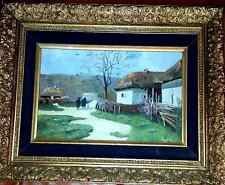 Antique oil Painting possibly Russian, Rural Scene : Oil on Board circa 1900
