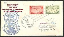 USA C20-21 CLIPPER AIRMAIL STAMPS SAN FRANCISCO TO HONG KONG FIRST FLIGHT COVER