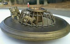 Vintage Solid Brass Cat Chasing a Mouse Figure Ornament  candle holder. Rare
