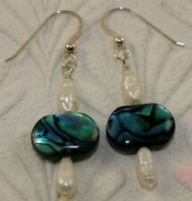British handmade silver earrings real gemstones River Pearl and Blue Abalone NA