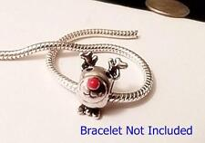 RUDOLPH**RED NOSE REINDEER   Christmas Silver Euro Style Charm
