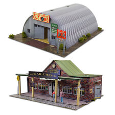 "1:87 HO Scale Kit ""Quonset Hut & Train Station"" Photo Real Diorama Scenery Sets"