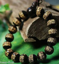 Brand New 12mm Black wood Sutra Tibet Buddhism stretchy Bracelet
