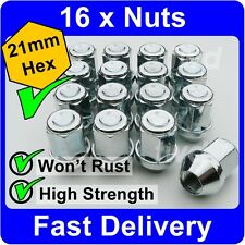 16 x ALLOY WHEEL NUTS FOR NISSAN (M12x1.25) TAPERED SEAT 21MM HEX LUG BOLTS [1M]