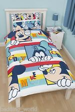 SINGLE BED MICKEY MOUSE PLAY DUVET COVER SET GOOFY RED BLUE YELLOW STRIPES LINES