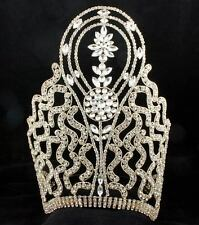 HUGE BEAUTY QUEEN CROWN TIARA AUSTRIAN RHINESTONE CRYSTAL PAGEANT GOLD T1415GOLD