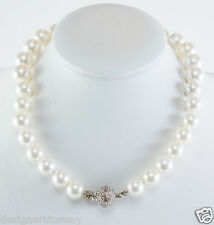 "Kenneth Jay Lane 18"" graduated white pearl necklace silver crystal clasp/pendant"