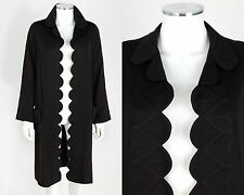Vtg 1920s Black Wool Trapunto Quilted Flapper Coat Sz S