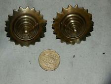 PAIR OF RARE VICTORIAN SMALL BEE HIVE SOLID BRASS HORSE BRASS ROSETTES.