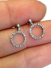 Sweet .14 CTW Diamond 10K JWBR White Gold Circl Earring Studs