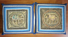"""Set of 2 Elephant Kalaga 14""""x14"""" Cotton Pillows with inserts Thailand Excellent!"""