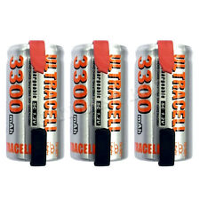 3 x Sub C 1.2V Volt 3300mAh NiMH Rechargeable Battery With Tabs Ultracell
