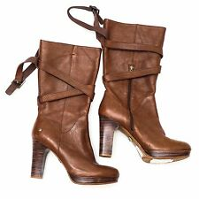 New $249 UGG Australia Jardin Women's Brown Leather Riding Tall Boots 9/8.5