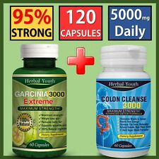 60 GARCINIA CAMBOGIA CAPSULES + 60 COLON CLEANSE WEIGHT LOSS SLIMMING DIET PILLS