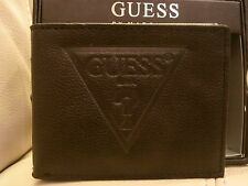 NEW W BOX MEN'S BLACK GENUINE LEATHER GUESS WALLET PASS CASE ID BIFOLD PHOTO