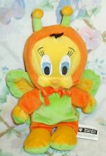 "WARNER BROS ENCHANTED GARDEN TWEETY BIRD ORANGE BUTTERFLY 9"" BEAN BAG PLUSH 1999"