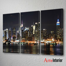 QUADRO Trittico NEW YORK NIGHT Stampa su tela Canvas ARTE ARREDO IDEA REGALO