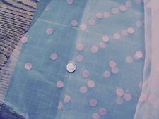 52' Pink Flocked Dot on White Organza Sheer Fabric