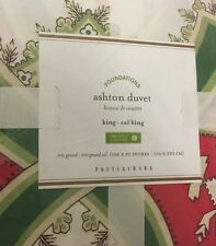 NIP Pottery Barn Green White Pink ASHTON ORGANIC Duvet Cover King-cal King
